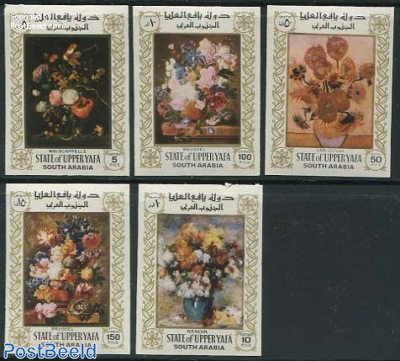 Upper Yafa, Flower paintings 5v imperforated