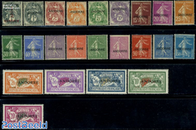 Overprints on French stamps 23v