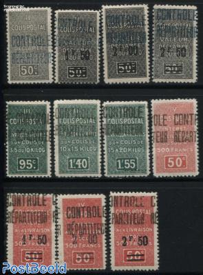 Colis Postal, Controle Repartiteur Overprints 11v