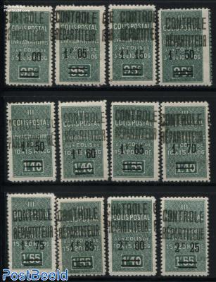 Colis Postal, Controle Repartiteur Overprints 12v