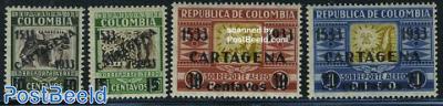 Cartagena, overprints 4v