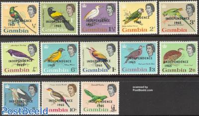 Definitives, birds independence overprints 13v