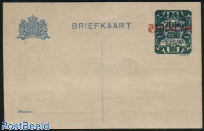 Postcard 7.5c on Vijf Cent on 1.5c blue, long dividing line