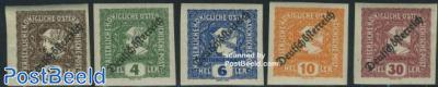 Newspaper stamps, overprints 5v