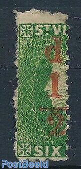 Overprint 1/2d on vertical divided 6d stamp 1v
