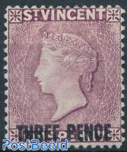 THREE PENCE on 1p, Queen Victoria 1v
