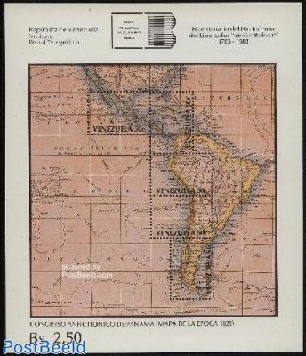Simon Bolivar, map s/s