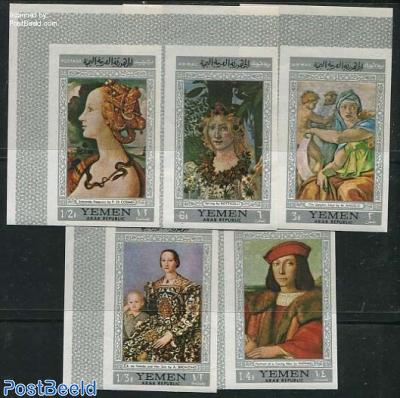Florentin paintings 5v, silver border
