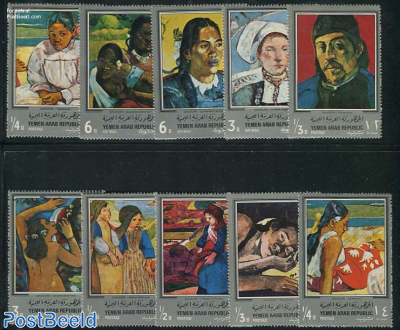 Gaugin paintings 10v, silver borders