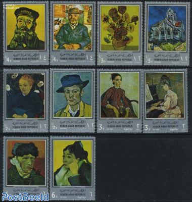 Van Gogh paintings 10v, silver borders