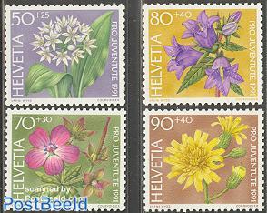 Pro juventute, flowers 4v